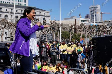 San Francisco Mayor London Breed speaks at a rally for San Francisco public schools to reopen during the coronavirus pandemic in San Francisco