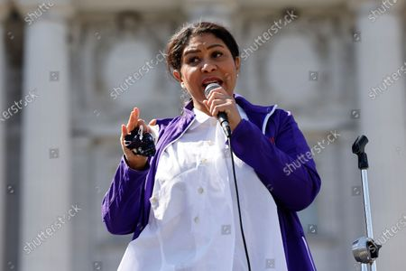 San Francisco Mayor London Breed speaks to parents, students, teachers, and supporters at a rally in front of City Hall for San Francisco public schools to reopen during the one year anniversary of the city of San Francisco stay-at-home order during the start of the COVID-19 coronavirus pandemic in San Francisco, California, USA, 13 March 2021. San Francisco was the first US city to order a shelter-in-place order during the pandemic.