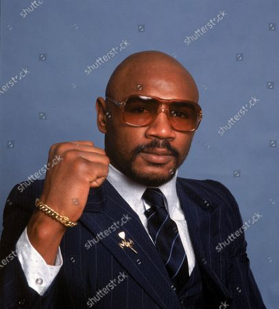 """Boxer Marvin Hagler poses for a photo. Hagler, the middleweight boxing great whose title reign and career ended with a split-decision loss to """"Sugar"""" Ray Leonard in 1987, died . He was 66"""