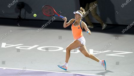 Stock Image of Canada's Eugenie Bouchard hits a forehand to Sara Sorribes Tormo, of Spain, during the women's final in the Abierto of Zapopan tennis tournament in Zapopan, Mexico