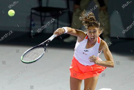 Spain's Sara Sorribes serves against Eugenie Bouchard of Canada during their final women's singles match in Abierto of Zapopan 2021 tennis tournament in Zapopan, Mexico