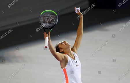 Spain's Sara Sorribes celebrates after winning in two sets 6 -2, 7-5, against Canada's Eugenie Bouchard during their final women's singles match in Abierto of Zapopan 2021 tennis tournament in Zapopan, Mexico