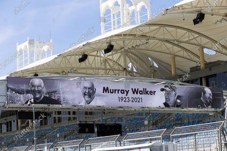 Stock Photo of Murray Walker tribute banner during the 2021 Formula One Bahrain Pre Season Testing