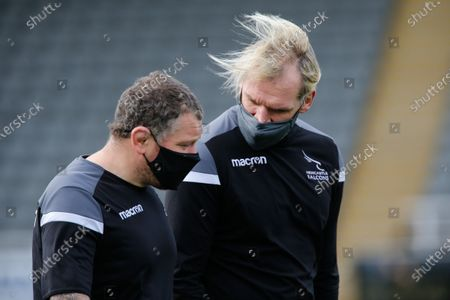 Scott MacLeod (Falcons Lineout Coach) and Micky Ward (L) before the Gallagher Premiership match between Newcastle Falcons and Bath Rugby at Kingston Park, Newcastle on Saturday 13th March 2021.