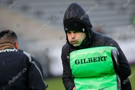 Falcons defence coach, Nick Easter warms up with Luther Burrell before the Gallagher Premiership match between Newcastle Falcons and Bath Rugby at Kingston Park, Newcastle on Saturday 13th March 2021.