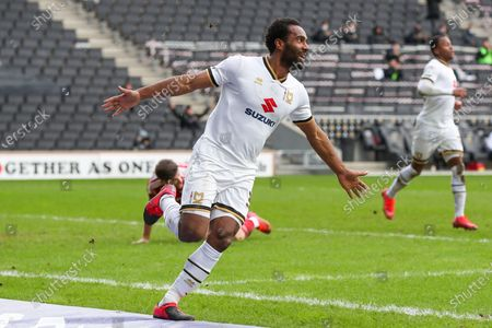 Cameron Jerome celebrates after scoring for Milton Keynes Dons, to extend their lead making it 2 - 0 against Accrington Stanley, during the Sky Bet League 1 match between MK Dons and Accrington Stanley at Stadium MK, Milton Keynes on Saturday 13th March 2021. (Credit: John Cripps | MI News)