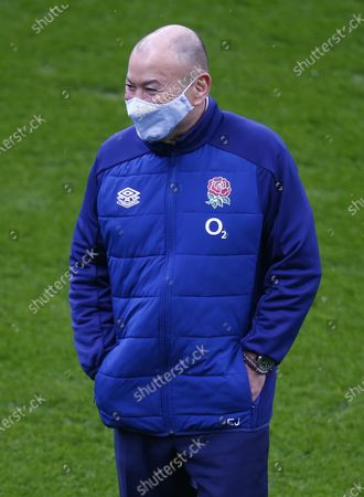 England's Coach Eddie Jones  warm up during Guinness 6 Nations between England and France at Twickenham Stadium , London, UK on 13th March 2021