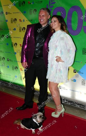 Stock Image of (L-R) Jaie Laplante and Jayme Kaye Gershen, walk the red carpet at th and e Miami Dade College's 38th annual Miami film festival closing night with the film Birthright at the Silverspot Cinema