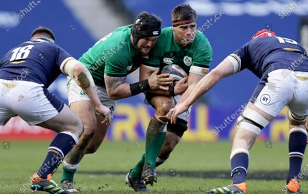 Scotland vs Ireland. Scotland's Simon Berghan and Grant Gilchrist with Andrew Porter and CJ Stander of Ireland