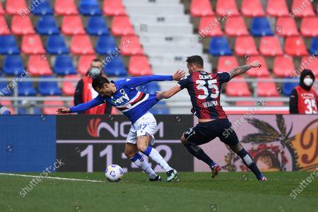 "Antonio Candreva (Sampdoria)Mitchell Dijks (Bologna)        during the Italian ""Serie A"" match between Bologna 3-1 Sampdoria  at  Renato Dall Ara Stadium in Bologna, Italy."
