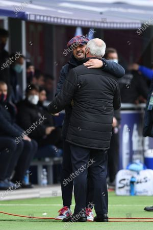 "Sinisa Mihajlovic Coach (Bologna)Claudio Ranieri  Coach (Sampdoria)        during the Italian ""Serie A"" match between Bologna 3-1 Sampdoria  at  Renato Dall Ara Stadium in Bologna, Italy."