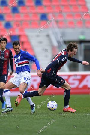 """Andreas Skov Olsen (Bologna)Antonio Candreva (Sampdoria)        during the Italian """"Serie A"""" match between Bologna 3-1 Sampdoria  at  Renato Dall Ara Stadium in Bologna, Italy."""