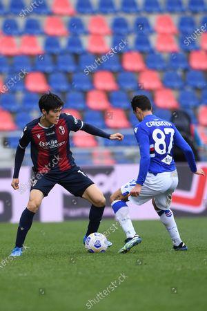 """Takehiro Tomiyasu (Bologna)Antonio Candreva (Sampdoria)        during the Italian """"Serie A"""" match between Bologna 3-1 Sampdoria  at  Renato Dall Ara Stadium in Bologna, Italy."""