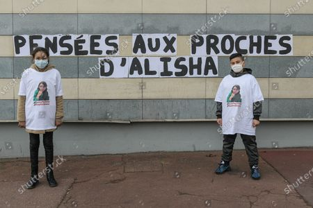 Words were pasted on the walls in the streets of Argenteuil, following the death of Alisha. White march to honor Alisha, teenager from Argenteuil on March 14, 2021. After being beaten and thrown into the Seine by two of her classmates at the Lycee Cognac Jay in Argenteuil, Alisha was found dead on Monday, March 8, 2021. The procession, with her family, and with hundreds of people left from the Lycee Cognac Jay where Alisha was educated, to the Parc des Berges on the banks of the Seine with a speech by her parents.