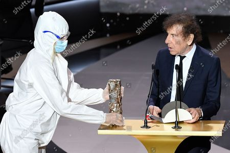 Stock Image of Alain Souchon on stage at 46th Cesar Film Awards 2021 ceremony at l'Olympia