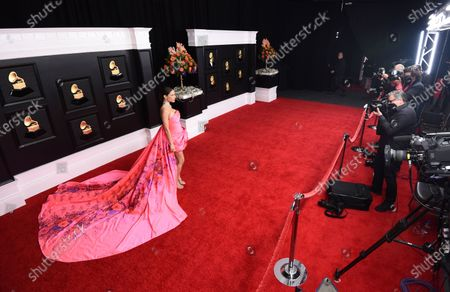 Debi Nova arrives at the 63rd annual Grammy Awards at the Los Angeles Convention Center