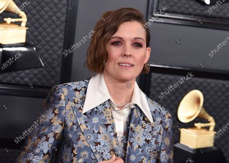 Stock Picture of Brandi Carlile arrives at the 62nd annual Grammy Awards at the Staples Center in Los Angeles. Carlile is excited to perform at Sunday's Grammy Awards, even if there isn't an audience. She says she's really only performing for one person -- the late singer-songwriter John Prine