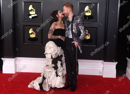 Julia Michaels, left, and JP Saxe arrive at the 63rd annual Grammy Awards at the Los Angeles Convention Center on March 14 with both live and prerecorded segments