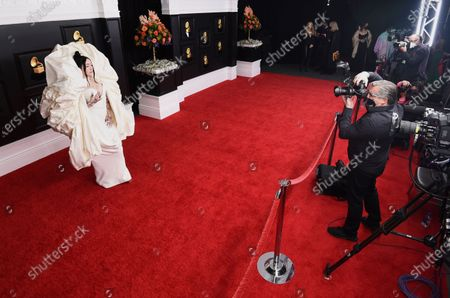 Noah Cyrus arrives at the 63rd annual Grammy Awards at the Los Angeles Convention Center on March 14 with both live and prerecorded segments