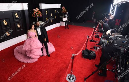 Jhene Aiko, left, and Big Sean arrive at the 63rd annual Grammy Awards at the Los Angeles Convention Center on March 14 with both live and prerecorded segments