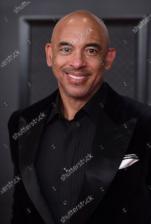 Harvey Mason Jr.., interim president of the Recording Academy, arrives at the 63rd annual Grammy Awards at the Los Angeles Convention Center