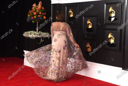 Mickey Guyton poses on the press line at the 63rd Grammy Awards at the Los Angeles Convention Center on. The award show airs on March 14 with both live and prerecorded segments