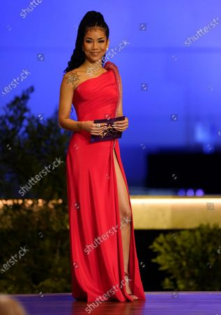 Stock Picture of Jhene Aiko appear on stage at the 63rd annual Grammy Awards at the Los Angeles Convention Center