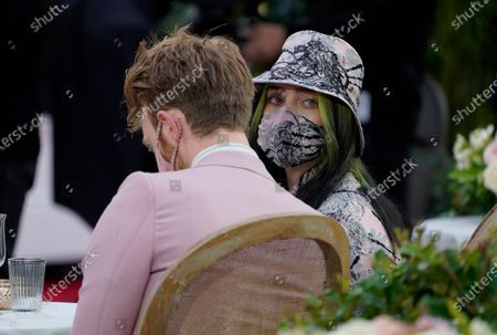 Billie Eilish, right, and Finneas O'Connell appear at the 63rd annual Grammy Awards at the Los Angeles Convention Center