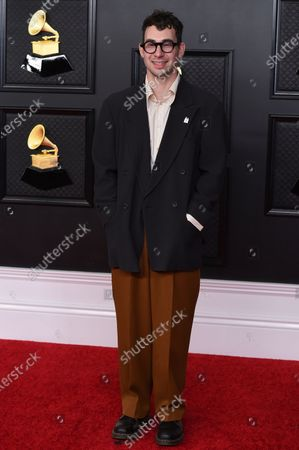 Jack Antonoff poses in the press room at the 63rd annual Grammy Awards at the Los Angeles Convention Center on March 14 with both live and prerecorded segments