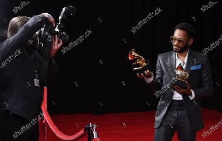 Kaytranada poses in the press room with the award for best dance recording and dance electronic album, for Bubba, at the 63rd annual Grammy Awards at the Los Angeles Convention Center on March 14 with both live and prerecorded segments