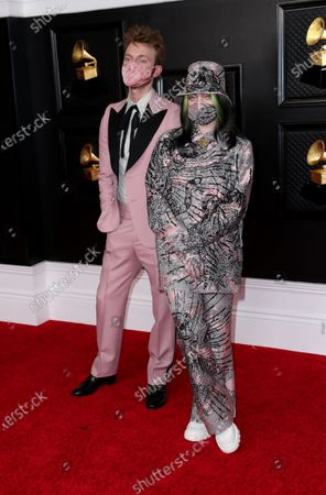 Finneas O'Connell and Billie Eilish on the red carpet at the 63rd Annual Grammy Awards, at the Los Angeles Convention Center