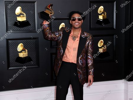 Grammy winner Anderson Paak with his Grammy on the red carpet at the 63rd Annual Grammy Awards, at the Los Angeles Convention Center