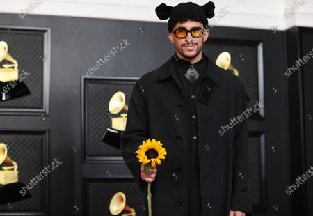 Bad Bunny on the red carpet at the 63rd Annual Grammy Awards, at the Los Angeles Convention Center