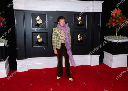 Harry Styles on the red carpet at the 63rd Annual Grammy Awards, at the Los Angeles Convention Center, in downtown Los Angeles, CA