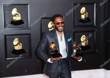 Stock Image of Kaytranada who won the award for Best Dance Performance and Best Dance Album at on the red carpet at the 63rd Annual Grammy Awards, at the Los Angeles Convention Center, in downtown Los Angeles, CA