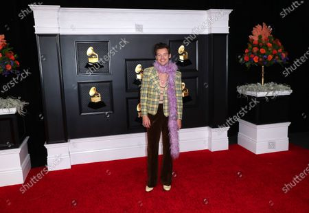 Harry Styles on the red carpet at the 63rd Annual Grammy Awards, at the Los Angeles Convention Center, in downtown Los Angeles, CA, Sunday, Mar. 14, 2021