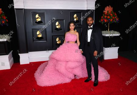 Stock Image of Jhene Aiko and Big Sean on the red carpet at the 63rd Annual Grammy Awards, at the Los Angeles Convention Center, in downtown Los Angeles, CA, Sunday, Mar. 14, 2021.