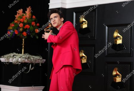 Jacob Collier, after winning a Grammy Award for Best Arrangement, Instruments And Vocals on the red carpet at the 63rd Annual Grammy Awards, at the Los Angeles Convention Center, in downtown Los Angeles, CA