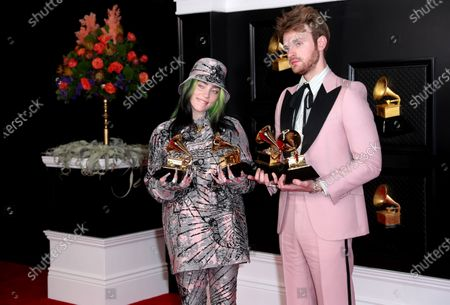 Finneas O'Connell and Billie Eilish on the red carpet at the 63rd Annual Grammy Awards, at the Los Angeles Convention Center, in downtown Los Angeles, CA