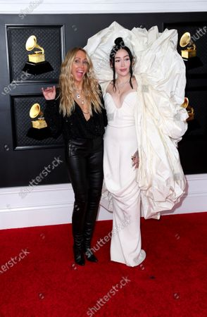 Stock Image of Tish and Noah Cyrus on the red carpet at the 63rd Annual Grammy Awards, at the Los Angeles Convention Center, in downtown Los Angeles, CA, Wednesday, Mar. 14, 2021. (Jay L. Clendenin / Los Angeles Times)