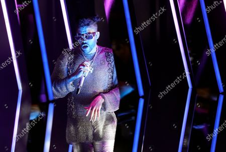 "Bad Bunny performs ""Dakiti"" at the 63rd Grammy Awards at the Los Angeles Convention Center,. The awards show airs on March 14 with both live and prerecorded segments"