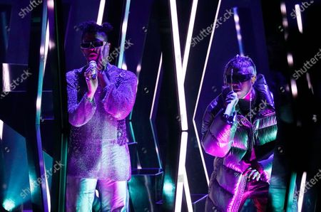 "Bad Bunny, left, and Jhay Cortez perform ""Dakiti"" at the 63rd Grammy Awards at the Los Angeles Convention Center,. The awards show airs on March 14 with both live and prerecorded segments"
