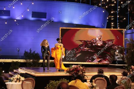 Beyonce Knowles and Megan Thee Stallion accepts the award for Best Rap Album at the 63rd Grammy Award outside Staples Center