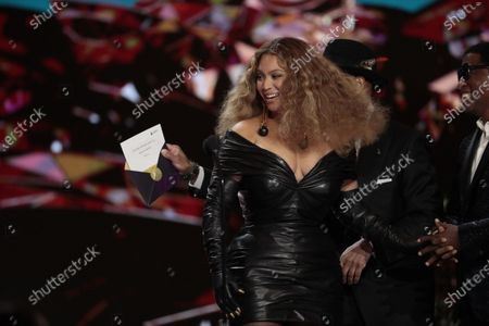 Stock Picture of Beyonce Knowles makes History with the Best E&B Performance winning 28 Grammys, more that any female or male performer, accepts the award for Best R&B Performance at the 63rd Grammy Award outside Staples Center