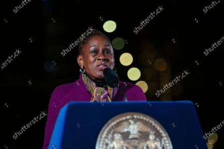New York's first lady Chirlane McCray speaks during a commemoration ceremony to remember New Yorkers lost during the Covid-19 pandemic, in Brooklyn, NY