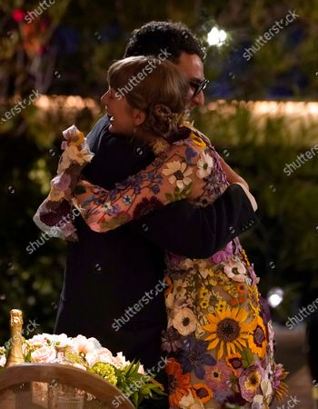 """Stock Image of Jack Antonoff and Taylor Swift hug as they are announced as winners of the award for album of the year for """"Folklore"""" at the 63rd annual Grammy Awards at the Los Angeles Convention Center on March 14 with both live and prerecorded segments"""