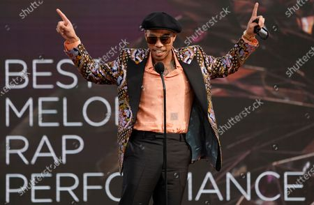 """Anderson Paak accepts the award for best melodic rap performance for """"Lockdown"""" at the 63rd annual Grammy Awards at the Los Angeles Convention Center on March 14 with both live and prerecorded segments"""
