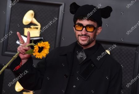 Stock Photo of Bad Bunny arrives at the 63rd annual Grammy Awards at the Los Angeles Convention Center
