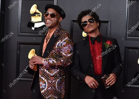 Anderson. Paak, left, and Bruno Mars arrive at the 63rd annual Grammy Awards at the Los Angeles Convention Center
