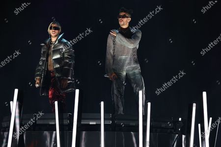 Bad Bunny, right, and Jhay Cortez perform in a pre taped segment for the 63rd Grammy Awards at the LA Convention Center.